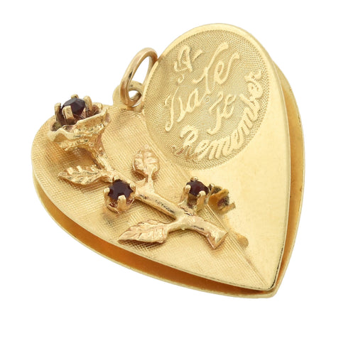 "Vintage 14kt Ruby ""A Date To Remember"" Heart Charm/Pendant"