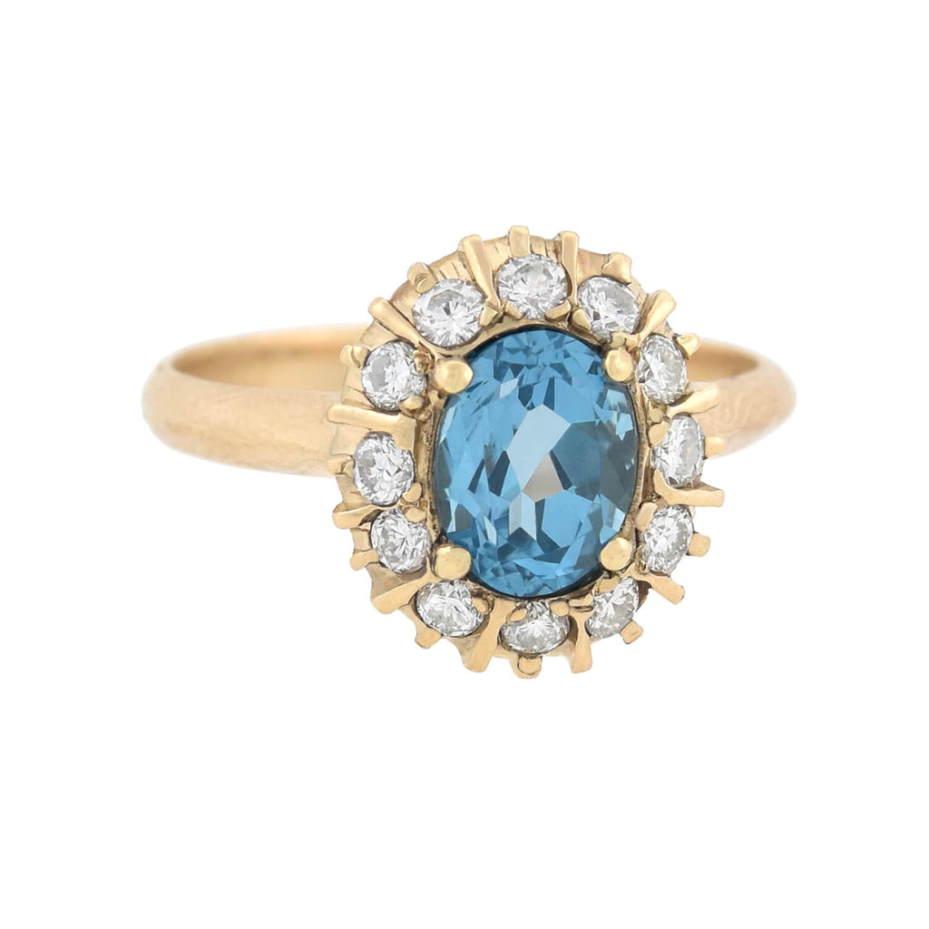 Vintage 10kt Aquamarine + Diamond Cluster Ring