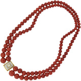 BUCCELATTI Vintage 18kt Coral Bead Necklace with Diamond Clasp