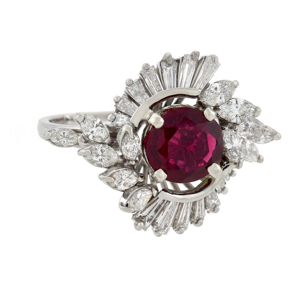 Vintage 18kt Rubellite Tourmaline + Diamond Ballerina Ring 1.15ct center