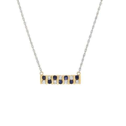 Vintage Sapphire + Diamond Conversion Bar Pendant Necklace