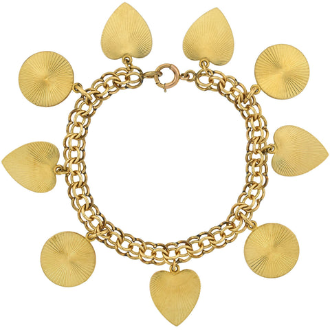 Vintage Gold-Filled Textured Heart + Circle Multi Charm Bracelet