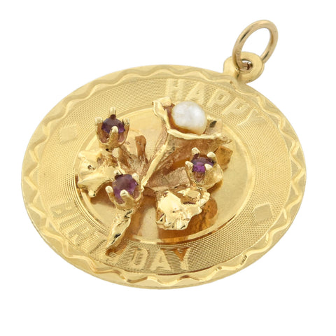 "Vintage Large 14kt Amethyst + Pearl ""Happy Birthday"" Charm"