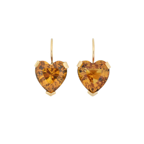 Vintage 14kt Yellow Gold Citrine Heart Earrings