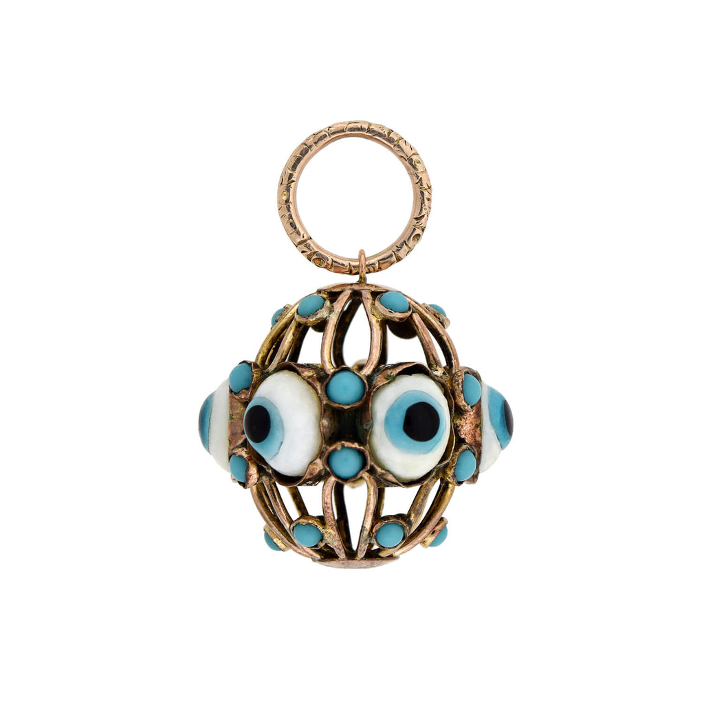 "Vintage 9kt Glass ""Evil Eye"" Caged Ball Charm Pendant"