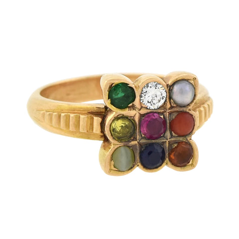 Retro 18kt Multi Gemstone Navaratna Talisman Ring