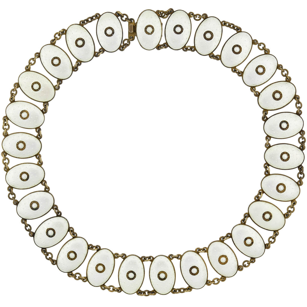 J. TOSTRUP Vintage Sterling Gilt White Enamel Guilloché Link Necklace