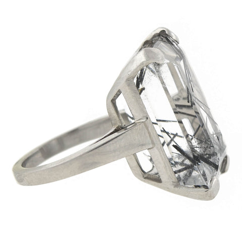 Estate Large Palladium Black Tourmalinated Quartz Ring