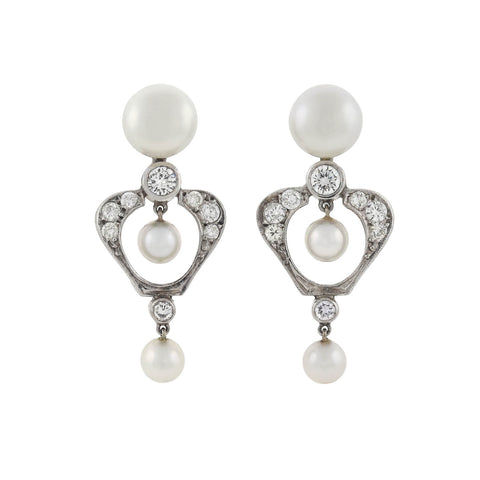 Vintage 14kt Gold Diamond + Pearl Earrings