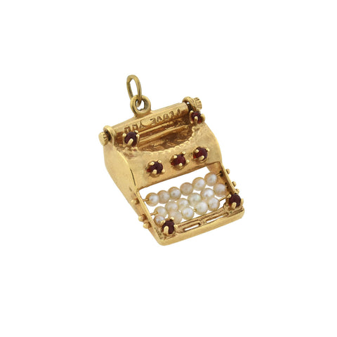 Vintage 14kt Ruby + Pearl Moveable Miniature Typewriter Charm/Pendant