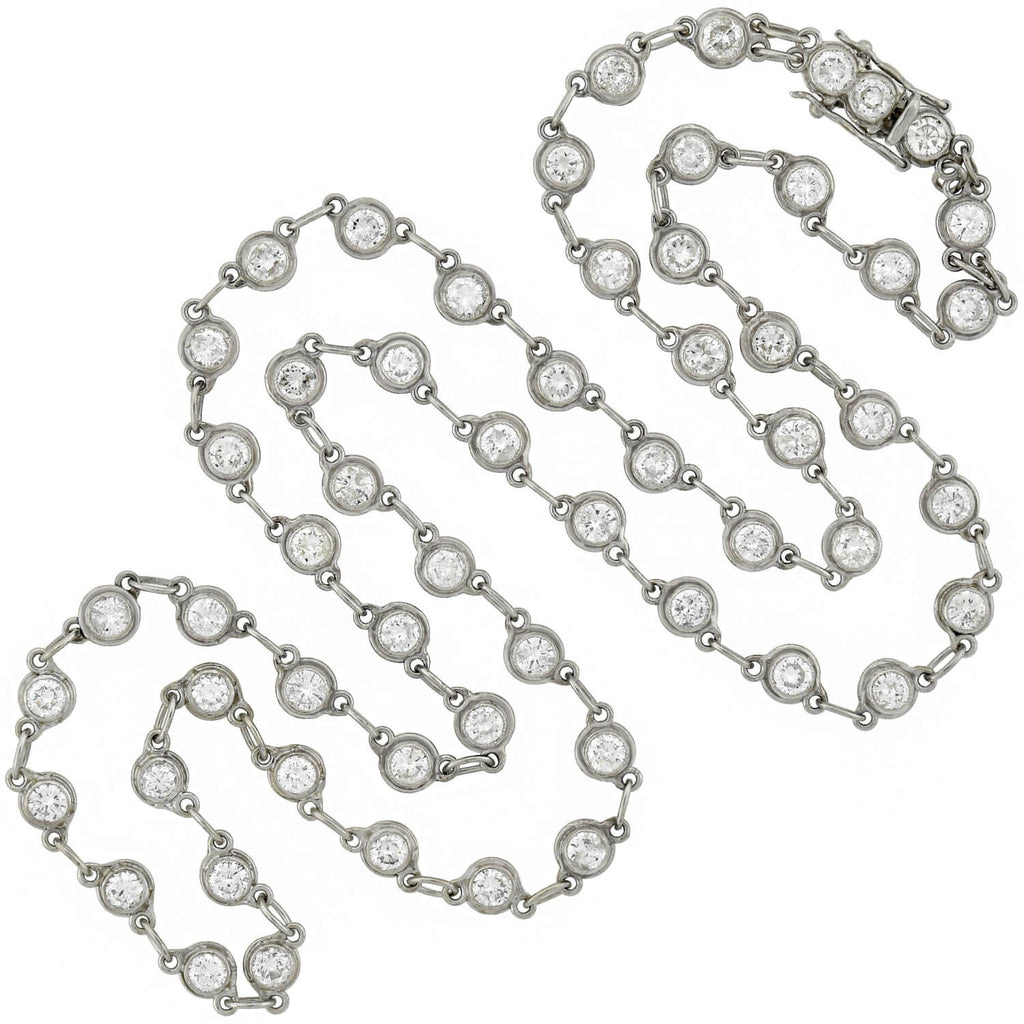 "Retro Platinum ""Diamonds By the Yard"" Link Chain Necklace 5.30ctw"