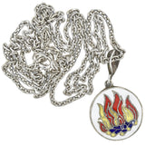 Vintage Sterling Enameled Aries + Fire Sign Double-Sided Pendant Necklace