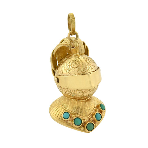 "Vintage 18kt Turquoise Movable ""Knight in Shining Armor"" Pendant"