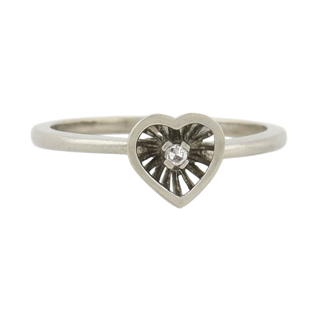 Estate 14kt Heart-Shaped Centerpiece Diamond Ring