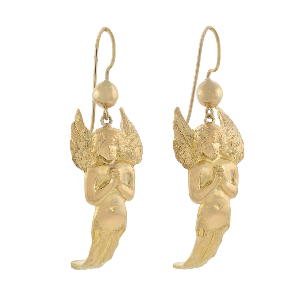 Vintage 18kt Gold Figural Praying Angel Dangling Earrings