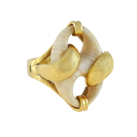 Vintage 18kt Carved Ivory Anchor Link Ring