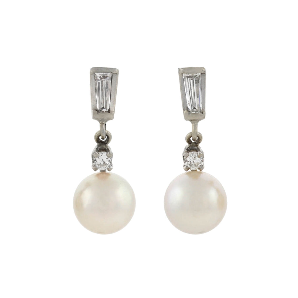 Vintage 14kt Cultured Pearl + Diamond Earrings 0.50ctw