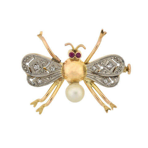 Vintage 14kt Diamond, Pearl + Ruby 3-Piece Bug Pin Set