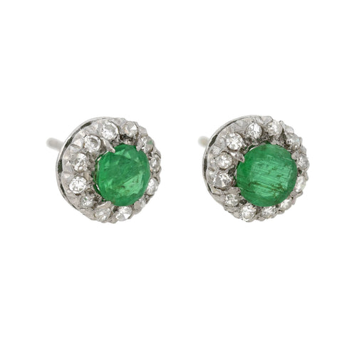 Vintage 14kt Emerald Diamond Cluster Earrings 1.00ctw center