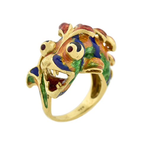 Vintage 18kt Enameled Figural Lionfish Ring