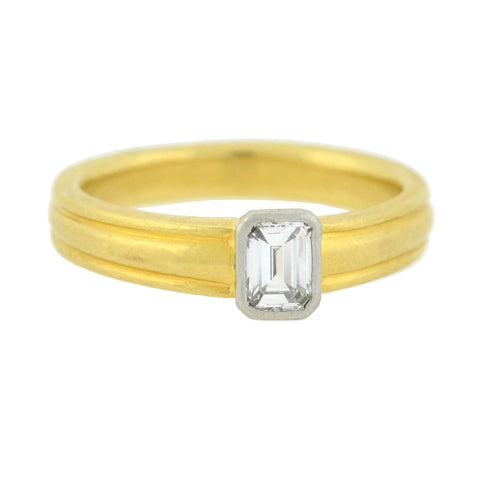 Estate English 18kt/Platinum Emerald Cut Diamond Ring 0.30ct