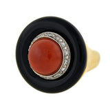 Vintage Large 14kt Gold Onyx, Coral & Diamond Domed Ring