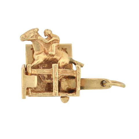"Vintage 14kt Moveable Horse Racing ""They're Off"" Charm"