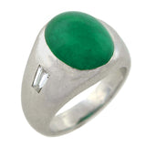 Retro Platinum Cabochon Emerald Diamond Ring 5ct