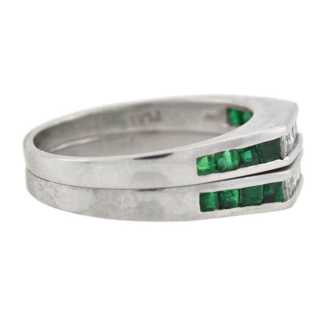 Vintage Platinum Calibrated Emerald + Diamond Squared Band Rings