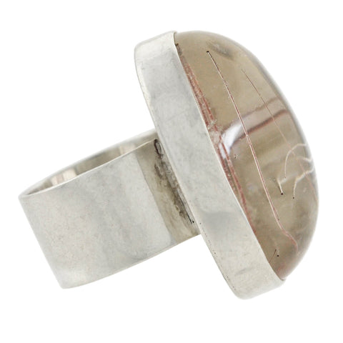 Vintage Large Sterling Silver Rutilated Quartz Ring