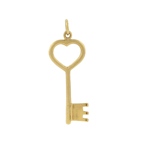 Vintage Large 14kt Gold Heart Skeleton Key Charm Pendant
