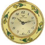 WALTHAM Art Deco 10kt Enamel Horserider Fox Hunt Pocket Watch