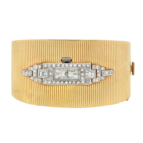 Retro 14kt Platinum Diamond & Pearl Crown Bracelet