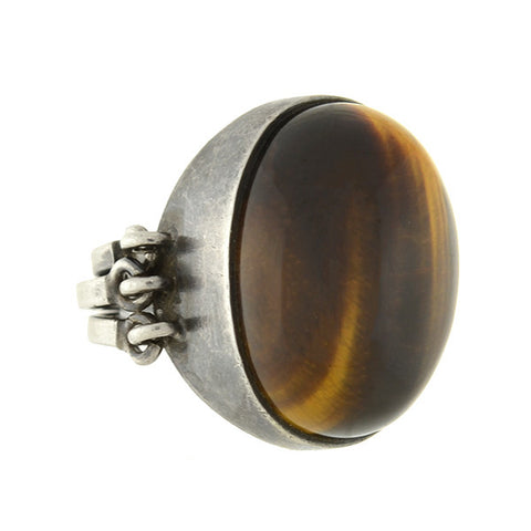 JANE WIBERG Mid Century Danish Sterling & Tiger's Eye Modernist Ring