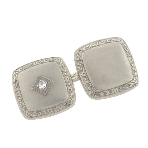 Art Deco 14kt White Gold & Diamond Cufflinks