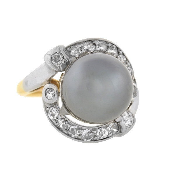 Retro Platinum & 14kt South Sea Pearl & Diamond Ring