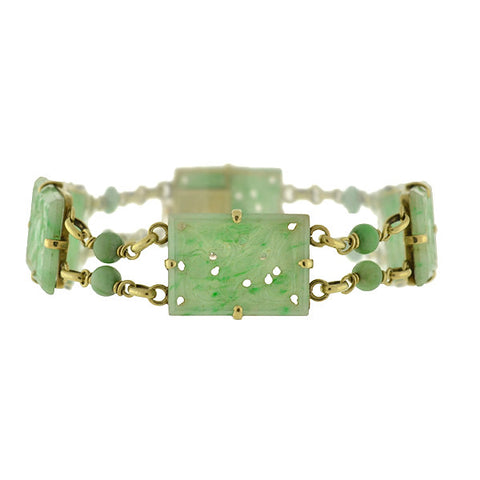 WALTER LAMPL Art Deco 14kt Carved Jade Bird Bracelet