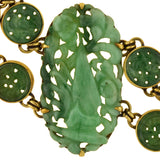 Art Deco 14kt Onyx + Carved Jade