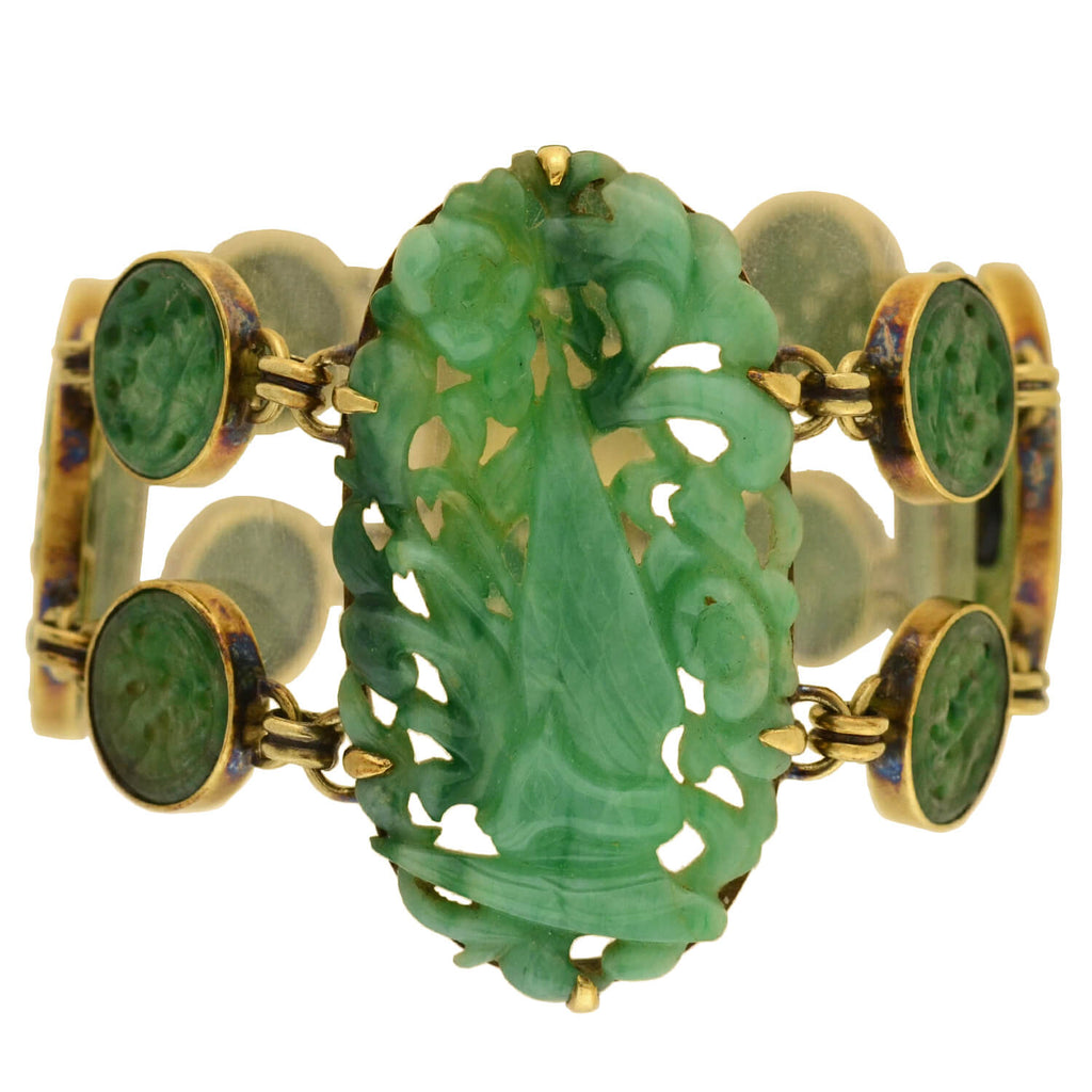 "Art Deco 14kt Onyx + Carved Jade ""Butterly + Flower"" Bracelet"