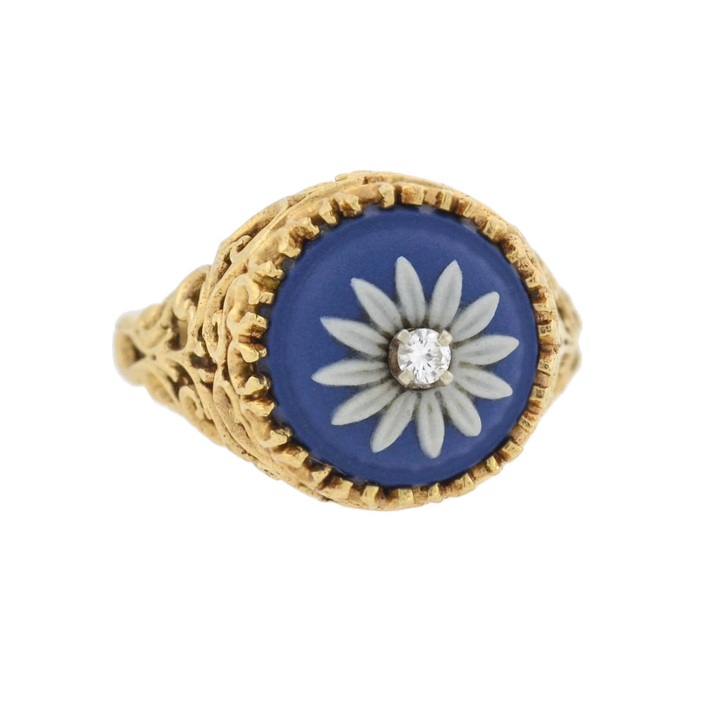 Retro 14kt Wedgwood Flower + Diamond Filigree Ring