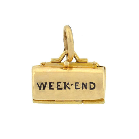 "Retro 14kt Enameled ""Weekend Bag"" Moveable Charm"
