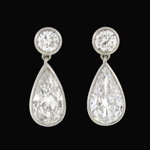 Art Deco Platinum Pear Cut Diamond Earrings 2.66ctw
