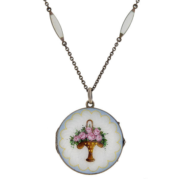 Art Deco Sterling & Guilloché Enamel Flower Locket Necklace