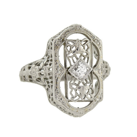 Art Deco 18kt Diamond & Floral Filigree Ring
