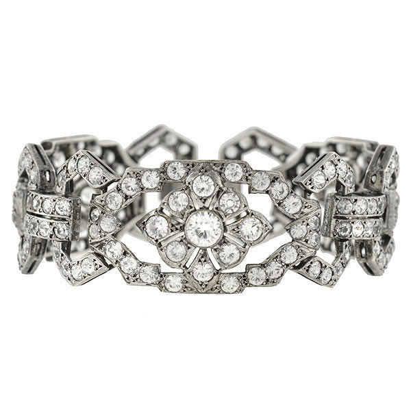 Edwardian French Sterling White Sapphire Link Bracelet