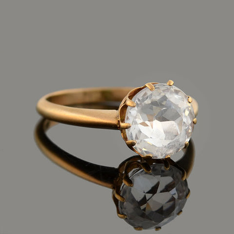 C.G. HALLBERG Swedish Edwardian 18kt White Sapphire Solitaire Ring