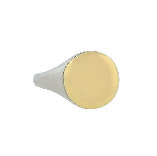 Art Deco 18kt White & Yellow Gold Smooth Signet Ring