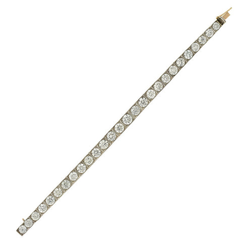Art Deco Sterling & White Zircon Line Bracelet