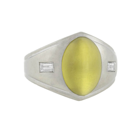 Edwardian 14kt Cat's Eye Chrysoberyl + Diamond Ring