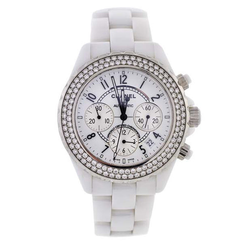 CHANEL 42mm J12 White Ceramic & Diamond Watch